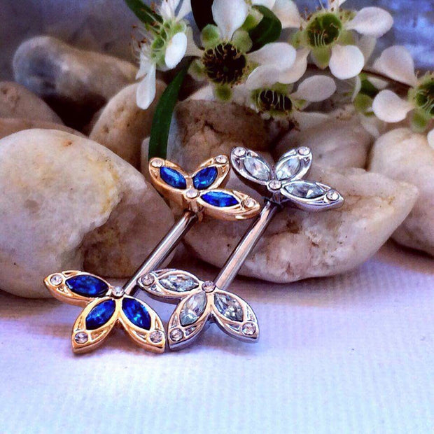 Golden Royal Diamantè Petal Nipple Barbell Ring