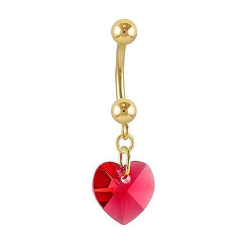 14k Gold Swarovski Heart Belly Dangles