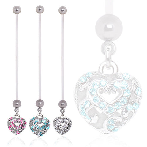 Crystal Puffed Heart Pregnancy/Maternity Belly Ring