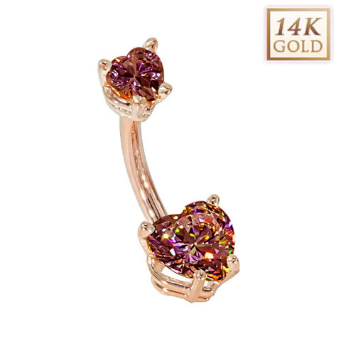 Garnet Hearts Solid Rose Gold Belly Bar (January)