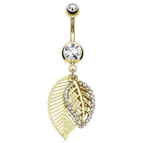 Gold Plated Double Leaf Dangling Navel Ring