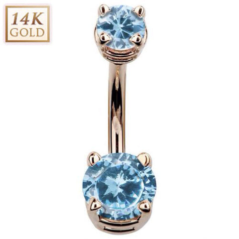 Birthstone March Aquamarine Gem Rose Gold Belly Ring