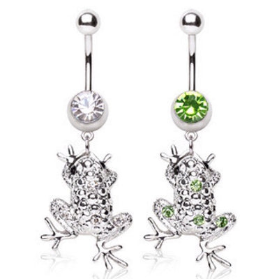 Frog With Cubic Zirconia Gems Dangling Creature Belly Ring