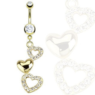 Triple Heart With Multi Clear Cubic Zirconia 14k Gold Plated Dangle Navel Ring
