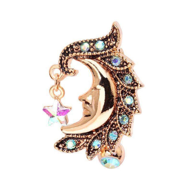 Rose Gold Moon Belly Bar