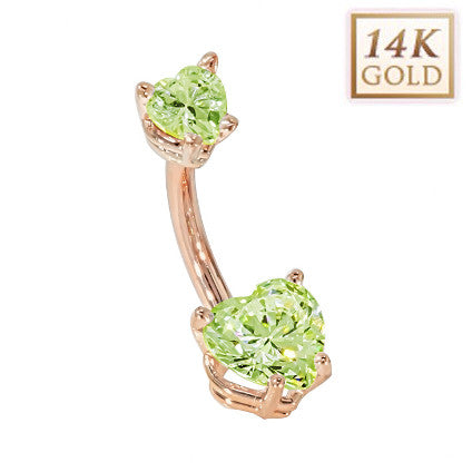 Peridot Hearts Solid Rose Gold Belly Bar (August)