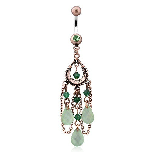 Vintage Peridot & Adventurine Natural Gem Chandelier Belly Bar