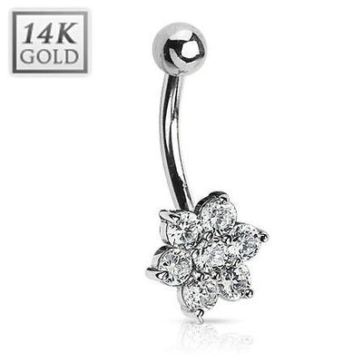 14k Solid White Gold Flower Belly Ring