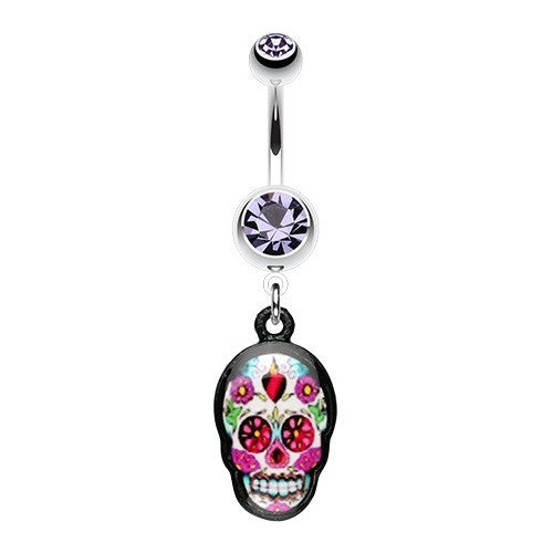 Bright Sugar Skull Dangle Belly Ring