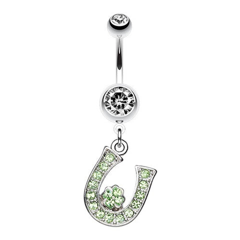 Lucky Horseshoe Charm Belly Button Rings