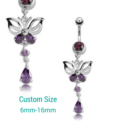 Amethyst Butterfly Resizable Dangle Belly Piercing Ring