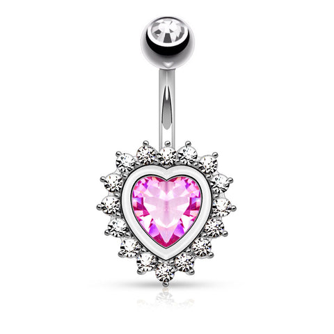 Jewelled Steel Heart Belly Bar