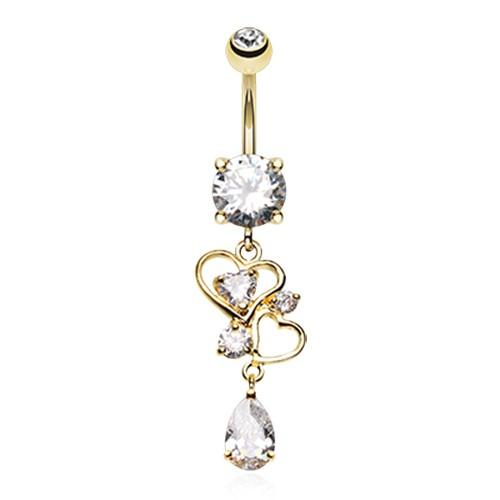 "Gift Product - ""Always Be Mine"" Love Heart Drop Belly Dangle"