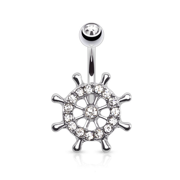 Ships Wheel In Clear Fixed Navel Ring