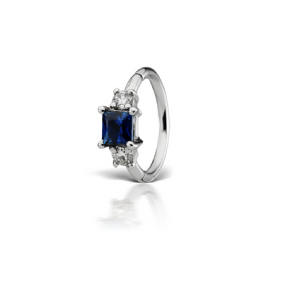 Sapphire & Diamond White Gold Belly Ring