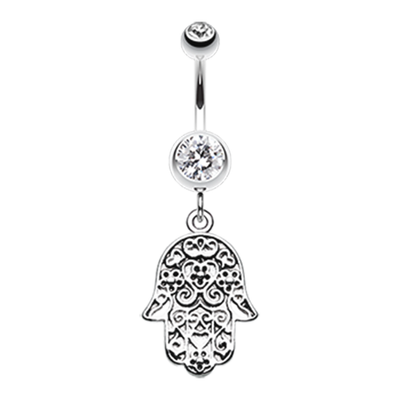 Floral Filigree Hamsa Belly Bar