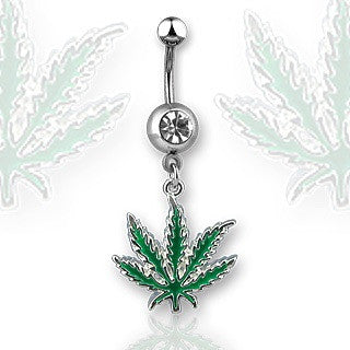 Pot Leaf With Cubic Zirconia Dangling Navel Ring