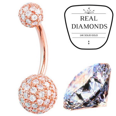 Genuine Diamond Pave 14k Rose Gold Belly Bar (5mm-8mm balls)