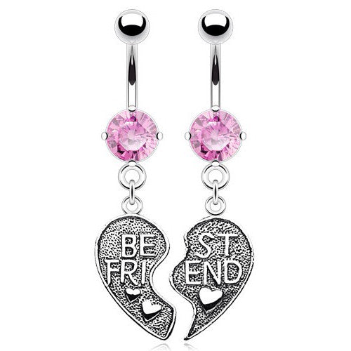 Pink Gem Best Friend Belly Dangle