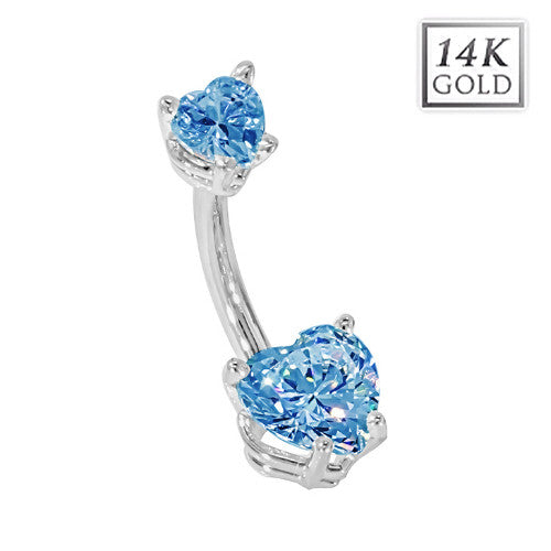 White Gold Love Heart December Birthstone Belly Bar in Blue