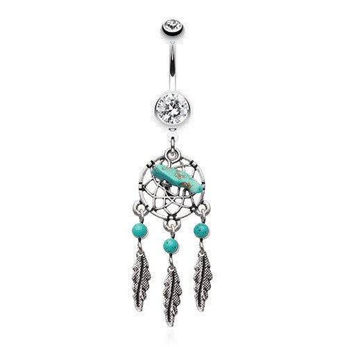Turquoise Slab Dangling Belly Ring