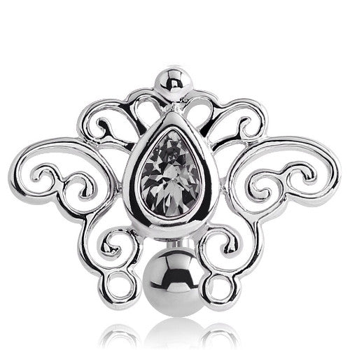 Tribal Butterfly Reverse Belly Piercing Ring