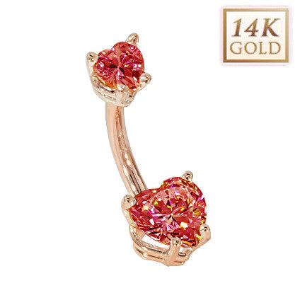 Ruby Hearts Solid Rose Gold Belly Bar (July)