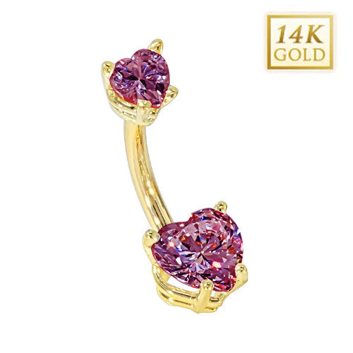 Alexandrite Hearts Solid Yellow Gold Belly Bar (June)