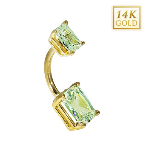 14k Yellow Gold Emerald Cut August Belly Ring