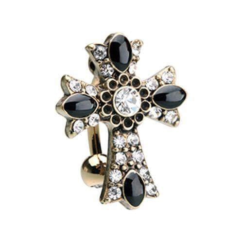 Raven's Golden Gothic Cross Belly Ring