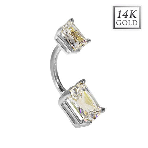 14k White Gold Emerald Cut April Birthstone Belly Ring