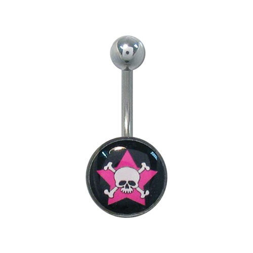 Pink Star And Skull 316L Surgical Steel Basic Belly Ring