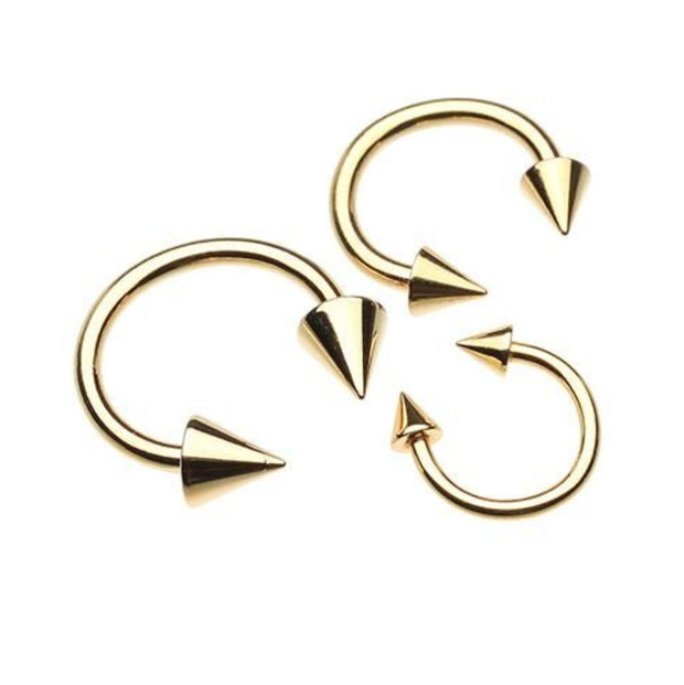 Gold Plated Spike Top Basic Circular Belly Ring