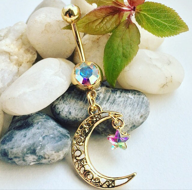 Gold Plated Cresent Moon Belly Dangle