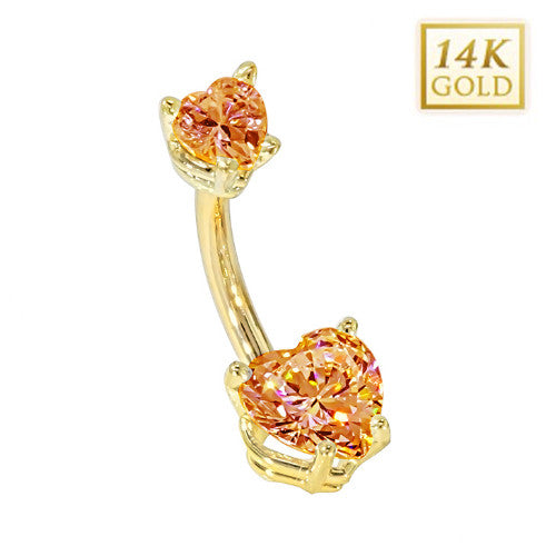 Citrine Hearts Solid Yellow Gold Belly Bar (November)
