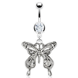 Vintage Butterfly With Cubic Zirconia Dangling Animal Belly Ring