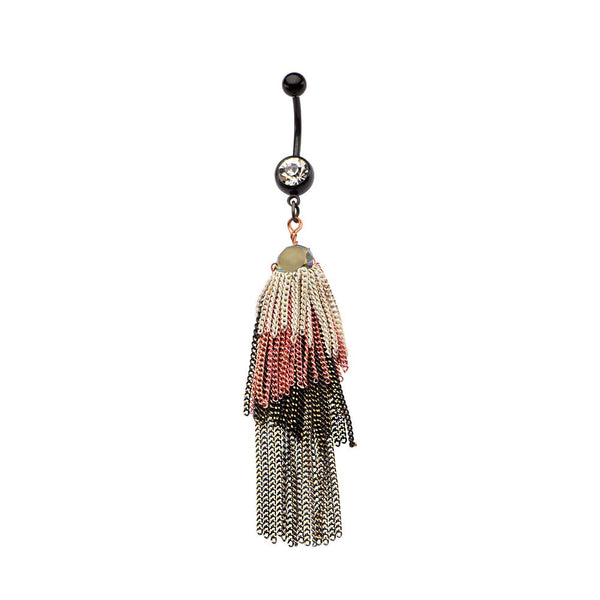Titanium Plated Boho Four Toned Tassels With Cubic Zirconia Gems Dangling Belly Ring