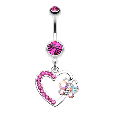 Dangling Heart Belly Button Ring with Butterfly
