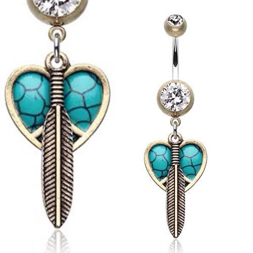 Boho Feathered Heart Belly bar