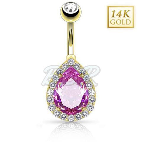 Pear Shaped Pink CZ 14k Solid Gold Belly Bar