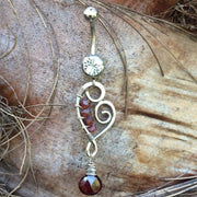 Odyssey Sterling Silver and Garnet Stone Belly Bar