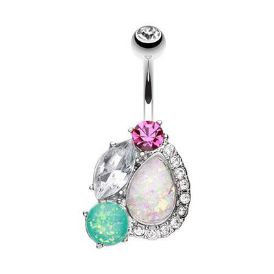 Sparkling Gem And Opal Medley Fixed Navel Ring Australia