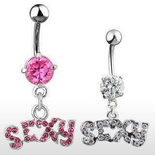 "Cubic Zirconia Paved ""Sexy"" Dangling Naughty Navel Rings"
