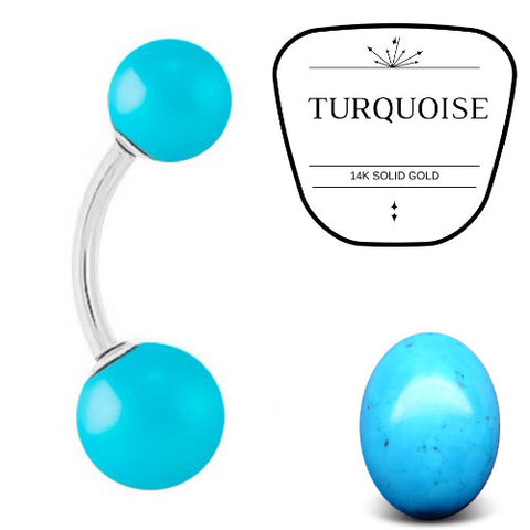 Turquoise Stone 14k White Gold Belly Bar