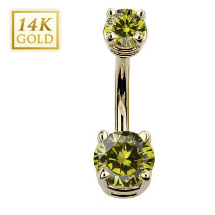 August Birthstone Peridot Gem Yellow Gold Belly Bar