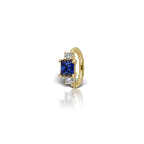 18k Yellow Gold Sapphire Belly Piercing Ring