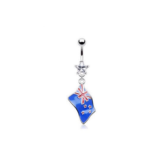 New Zealand Flag Cubic Zirconia Gem Dangling Belly Ring