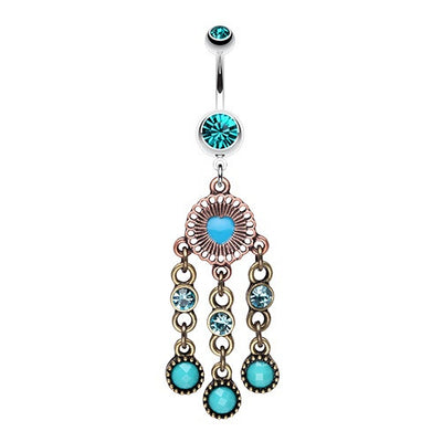 Boho Chandelier Belly Dangle in Turquoise
