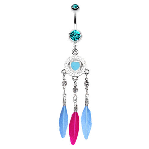 Feather Dreamcather Dangle Belly Bar