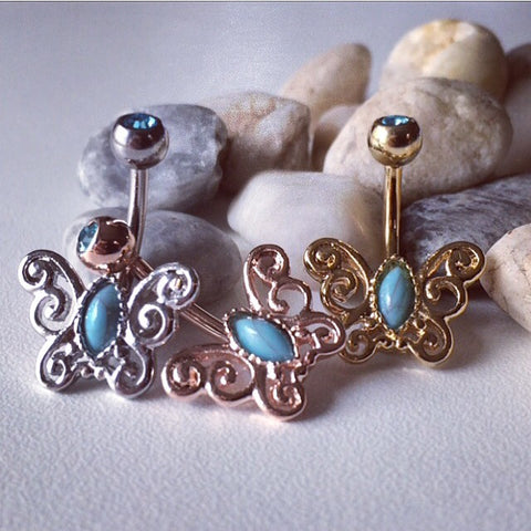 Filigree Butterfly Belly Rings